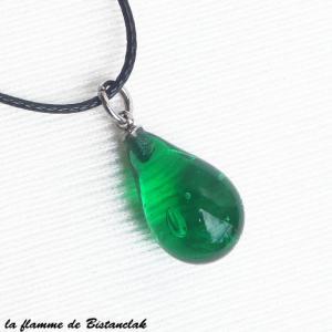 Bijou artisanal goutte de verre file vert emeraude vendu en ligne