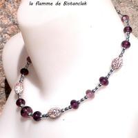Bijou artisanal perles de verre file rose et graines de betel