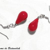 Bijou artisanal rouge boucle d oreilles goutte