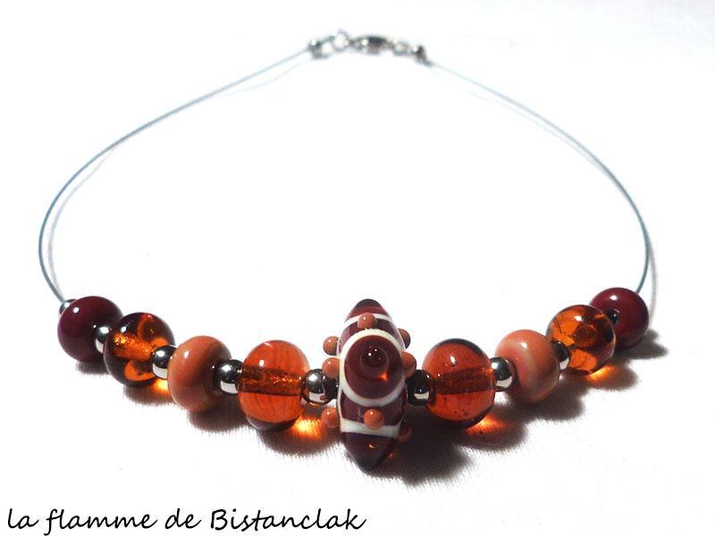 Bijou collier verre file perle 4 points de couleur topaze terre de sienne et brun