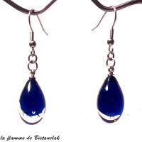 Bijou d oreille goutte de verre coloree bleu roi transparent