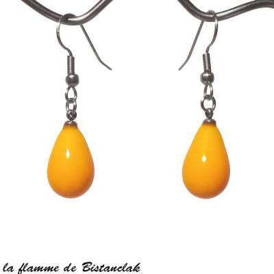 boucles d'oreilles goutte de verre jaune orangé