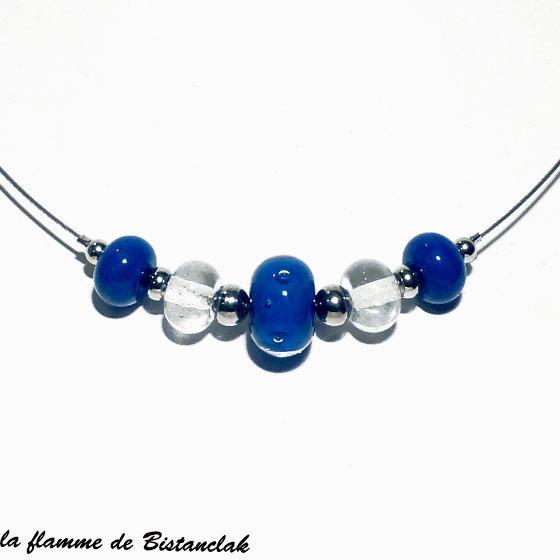 Bijou en perles de verre file bleu lapi et transparente 1