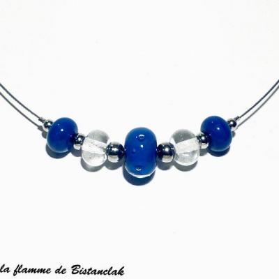 Collier de perles de verre rondes bleu lapi et transparent