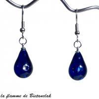 Bijou goutte de verre bleu roi incrustation zirconium en boucles d oreilles