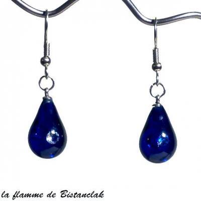 boucles d'oreilles goutte de verre bleu roi inclusion zirconium