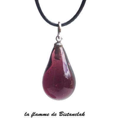 Bijou goutte de verre prune fonce transparent vendu en ligne