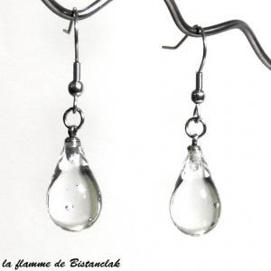 Bijou goutte de verre transparente en boucles d oreilles creation artisanale