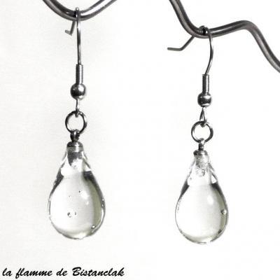 boucles d'oreilles goutte de verre transparente