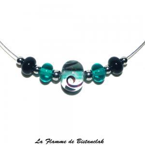 Bijou ras du cou avec perles de verre bleu canard et noir