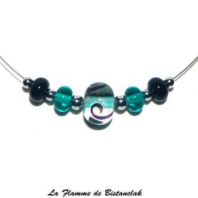 Collier perles de verre bleu canard et noir collection fantaisie
