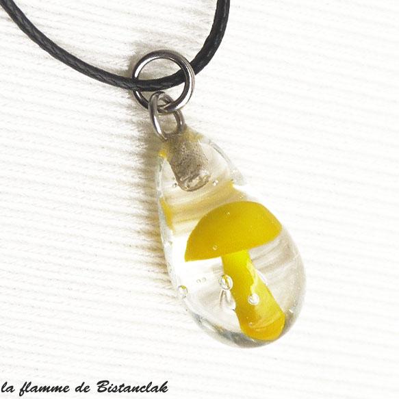Bijou verre file goutte inclusion champignon jaune 1