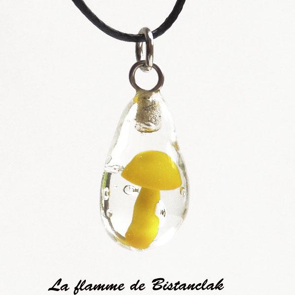 Bijou verre file goutte inclusion champignon jaune 2
