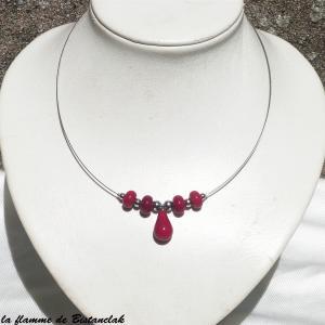 Bijou verre file rouge collier goutte et perles de verre file au chalumeau