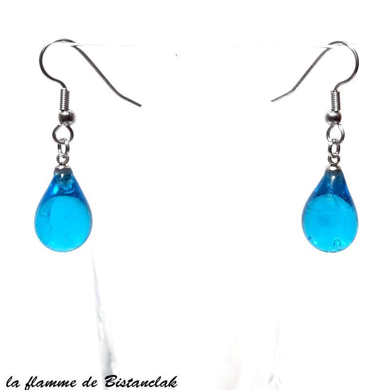 Bijoux d oreilles goutte de verre file bleu turquoise transparent creation ardeche