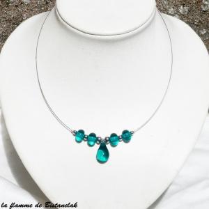 Bijoux goutte de verre et perles rondes bleu canard