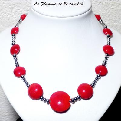 Collier perles lentille rouge