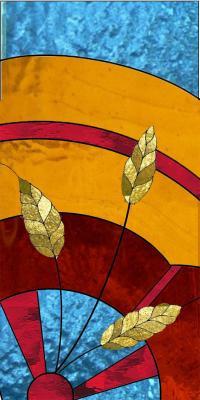 maquette vitrail épi et roue en couleur