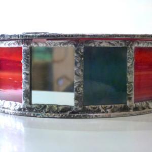 Boite vitrail yin yang rouge et gris 4