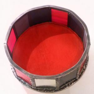 Boite vitrail yin yang rouge et gris 6