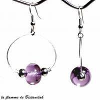 Boucles creoles et perles de verre rose transparent