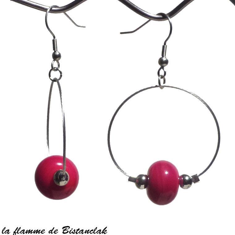 Boucles creoles et perles de verre rouge bijou artisanal vendues en ligne