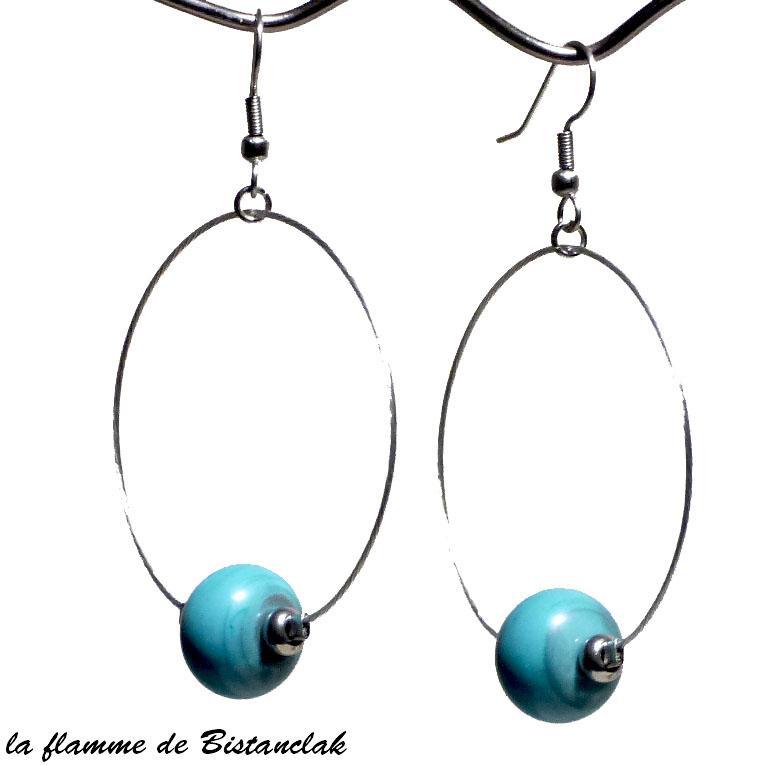 Boucles creoles et perles de verre turquoise bijoux ardeche