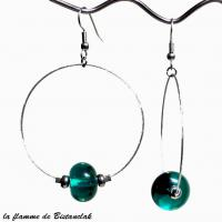 Boucles creoles et perles de verre vert canard transparent