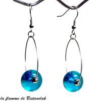 Boucles d oreilles creoles et perle de verre turquoise bijou artisanal par bistanclak