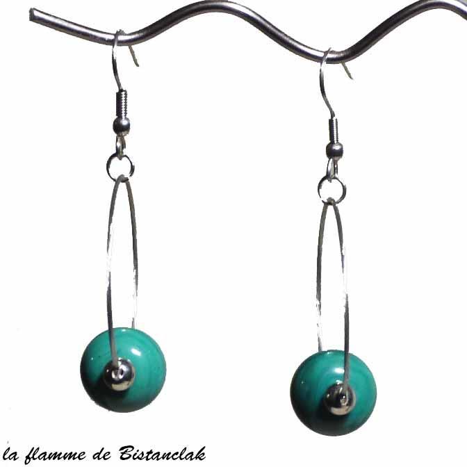 Boucles d oreilles creoles et perle de verre vert petrole bijou artisanal par bistanclak
