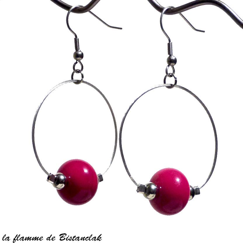 Boucles d oreilles creoles rouge