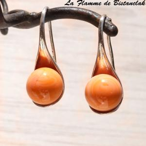 Boucles d oreilles cuillere abricot orange 1