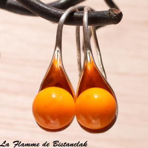 Boucles d oreilles verre filé orange forme cuillère