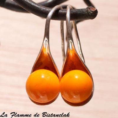 Boucle d'oreilles perle jaune orange