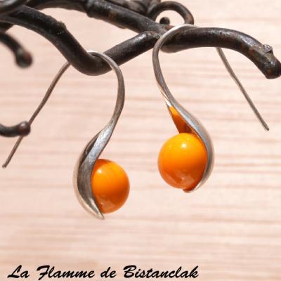 Boucles d'oreilles perle de verre jaune orange
