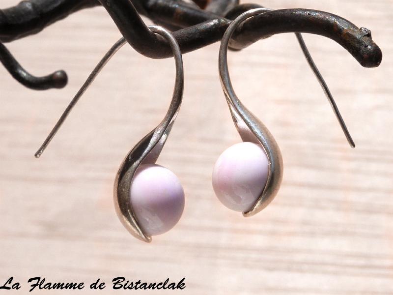 Boucles d oreilles cuillere rose tres pale