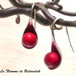 Boucles d oreilles cuillere rouge
