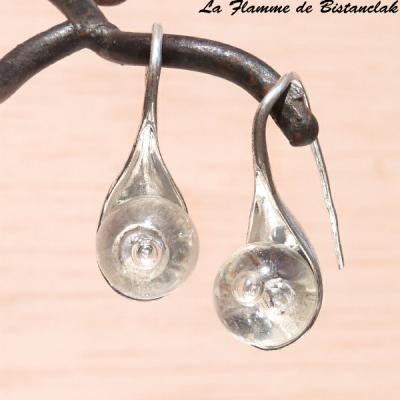 Boucles d oreilles perles de verre transparentes
