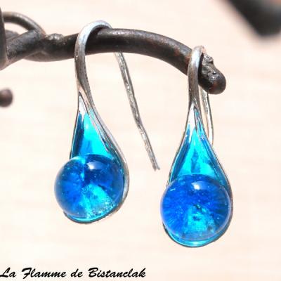Boucle d'oreilles perles de verre bleu turquoise