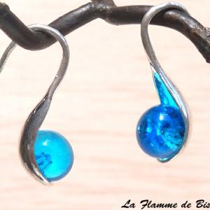 Boucles d oreilles modèle cuillere verre filé turquoise transparent 2