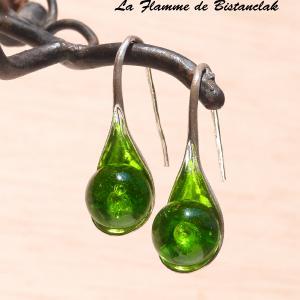 Boucles d oreilles verre filé au chalumeau perles vert pomme