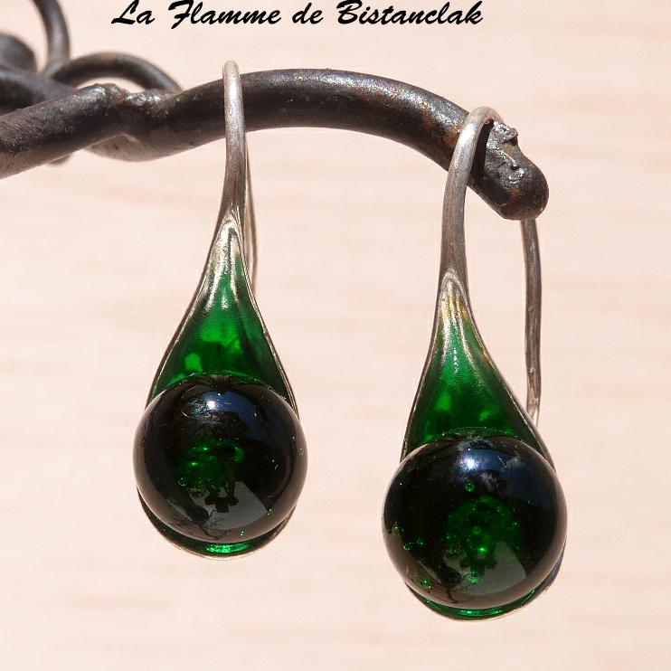 Boucles d oreilles cuillere vert herbe transparent