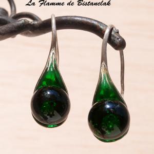 Boucles d oreilles cuillère verte