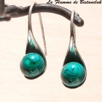 Boucles d oreilles cuillere vert petrole chamarre opaque