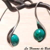 Boucles d oreilles cuillere vert petrole chamarre opaque 2