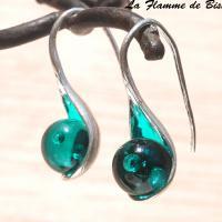 Boucles d oreilles cuillere vert petrole transparent