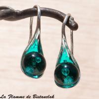 Boucles d oreilles cuillere vert petrole transparent 1