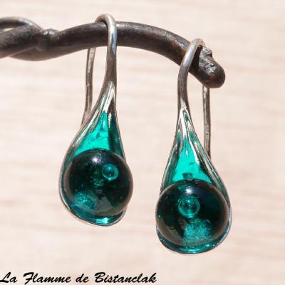 Boucle d'oreilles perles de verre bleu canard transparent
