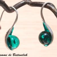 Boucles d oreilles cuillere vert petrole transparent 2