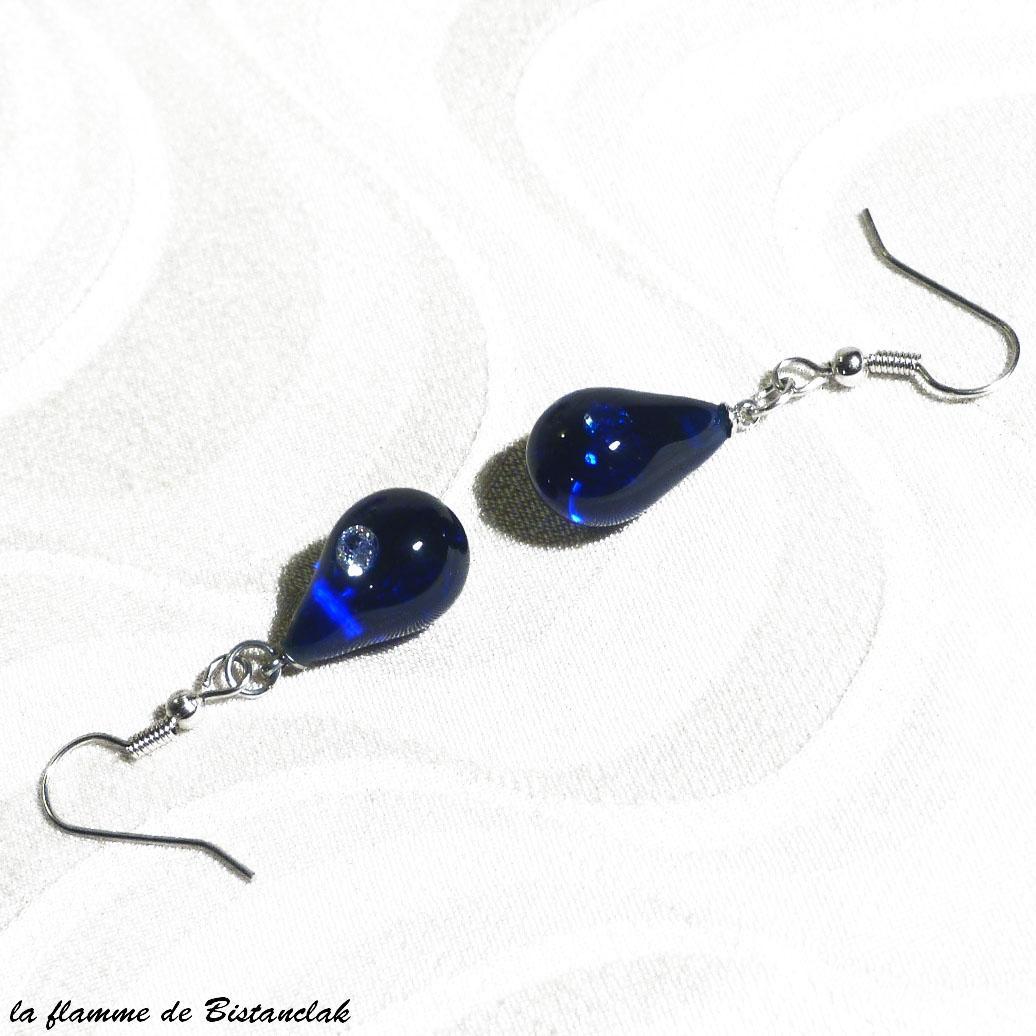 Boucles d oreilles goutte de verre file bleu roi incrustation zirconium